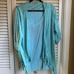 Sparkly Avenue sleeveless top and sweater set